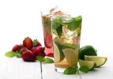 Fresh tasty strawberry and mint mojito Stock Image