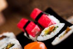 Fresh and tasty sushi from Japan. Fresh and tasty Japanese sushi set Stock Photos