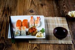 Fresh and tasty sushi from Japan. Fresh and tasty Japanese sushi set Royalty Free Stock Images