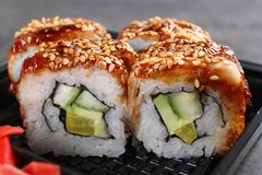 Fresh tasty sushi rolls, closeup. Food delivery service stock photos