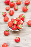 Fresh tasty sweet strawberries macro closeup garden outdoor Royalty Free Stock Images