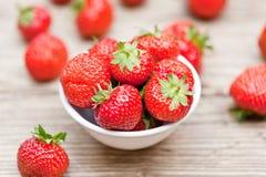 Fresh tasty sweet strawberries macro closeup garden outdoor royalty free stock photo