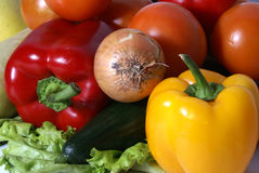 Fresh tasty vegetables. Bright set of different fresh tasty vegetables stock photo