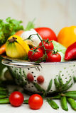 Fresh tasty vegetables with water drops in the kit. Ripe vegetables with water drops. Food ingredients Stock Image
