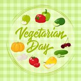 Fresh and tasty vegetables for your design. Background for World Vegetarian Day in cartoon style. Vector illustration Stock Photo