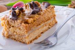 Walnut caramel cake Stock Image