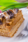 Walnut caramel cake Stock Photography