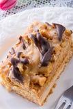 Walnut caramel cake Royalty Free Stock Photos