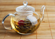 Fresh tea in glass teapot Stock Photos