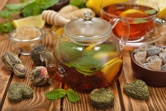 Fresh tea in glass teapot Stock Photography
