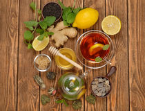 Fresh tea in glass teapot Royalty Free Stock Images