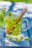 Fresh tea with honey with in sunny garden Stock Photos