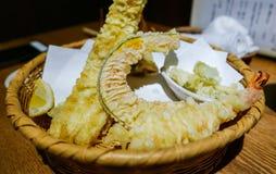 Fresh tempura dish. Japanese fresh tempura in a traditional Soba meal set. This restaurant is in Kyoto, Japan Royalty Free Stock Photo