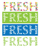 Fresh text using vector fruit and vegetables icons. Fresh text using fruit and vegetables icons. Vector illustration Stock Photo
