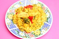 Fresh thai curry rice with vegetables and chicken Royalty Free Stock Photography