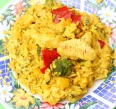 Fresh thai curry rice with vegetables and chicken Stock Photography