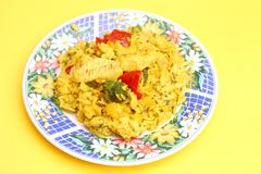 Fresh thai curry rice with vegetables and chicken Stock Photo