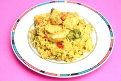 Fresh thai curry rice with vegetables and chicken Royalty Free Stock Photos