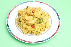 Fresh thai curry rice with vegetables and chicken Royalty Free Stock Photo