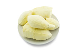 Fresh Thai fruit, peeled durian, on white plate on white backgro Stock Photography