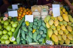 Fresh Thai fruit for sale at floating market. Fresh Thai fruit mangoes, guavas and oranges ready for sale at floating market Stock Images