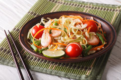 Fresh Thai green papaya salad with shrimp close-up. horizontal. Fresh Thai green papaya salad with shrimp close-up on a plate on the table. horizontal stock photos