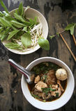 Fresh thai pork noodle soup kway teow Royalty Free Stock Images