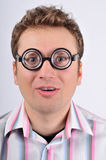 Fresh thinking, nerd, geek. Nerd in funny glasses. Expression - I have an idea Royalty Free Stock Photos