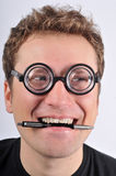 Fresh thinking, nerd, geek. Nerd in funny glasses. Expression - I have an idea Stock Photography