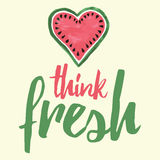 Fresh thoughts poster. Hand written message with cute hand drawn watermelon. Royalty Free Stock Photo