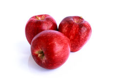 Fresh three red apples isolated Stock Image