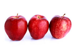 Fresh three red apples isolated Stock Images