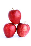 Fresh three red apples isolated Royalty Free Stock Photo