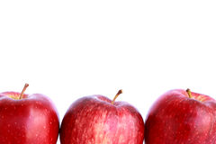 Fresh three red apples isolated Stock Photos