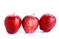 Fresh three red apples isolated Royalty Free Stock Photography