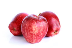 Fresh three red apples isolated Royalty Free Stock Images