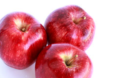 Fresh three red apples  Stock Photography