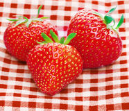 Fresh three strawberries Royalty Free Stock Images