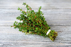 Fresh Thyme on the boards Stock Images