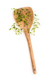 Fresh thyme herb on a wooden spoon Royalty Free Stock Image