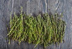 Fresh thyme on wood backround Stock Photo