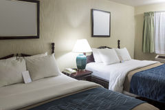 Fresh and Tidy Ready to Use Modern Hotel Appartment with Two Kin. G-Size Beds. Horizontal Image Composition Stock Photo