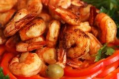 Fresh tiger shrimps background Royalty Free Stock Photos