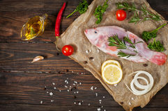 Fresh tilapia on dark wooden textured background with fresh rosemary and lemon. Culinary mediterranean seafood Stock Images