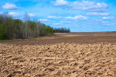 Fresh tillage ploughed field Royalty Free Stock Images