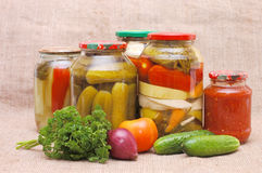 Fresh and tinned vegetables Stock Photography