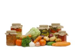Fresh and tinned vegetables Royalty Free Stock Image