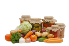 Fresh and tinned vegetables Stock Image