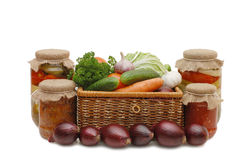Fresh,tinned vegetables in a wattled box Royalty Free Stock Photography