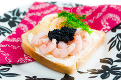 Fresh toast with caviar Royalty Free Stock Image